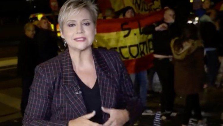 Gloria Serra durante el reportaje de Franco/ Foto: Antena 3