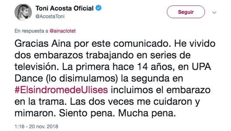 El mensaje de Toni Acosta mostrando su apoyo a Clotet | Foto: Twitter Toni Acosta