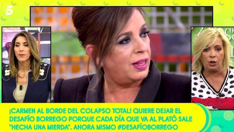 Carmen Borrego planteándose abandonar el reto / Telecinco.es