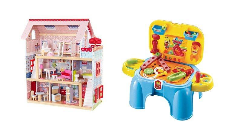 Casa de muñecas y juego de herramientas