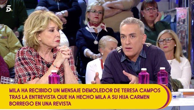 Mila Ximénez y Kiko Hernández en 'Sálvame' / Fuente: telecinco.es
