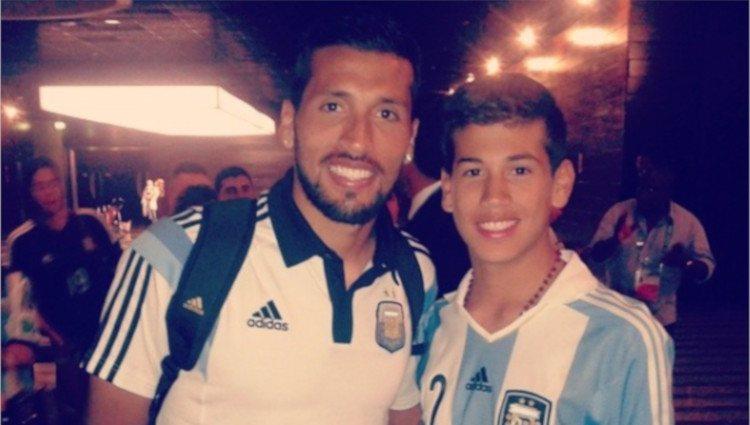 Ezequiel y Benjamín Garay en el mundial de Brasil 2014/Foto:Instagram