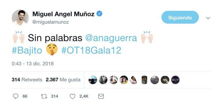 El mensaje de Miguel Ángel Muñoz a Ana Guerra en Twitter