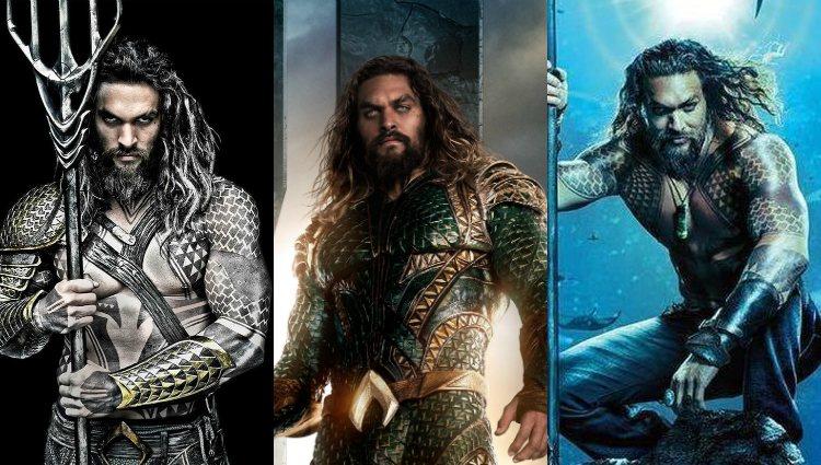 Jason Momoa como Aquaman en las tres entregas de DC