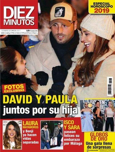 Paula Echevarría y David Bustamante con su hija Daniella en la portada de Diez Minutos