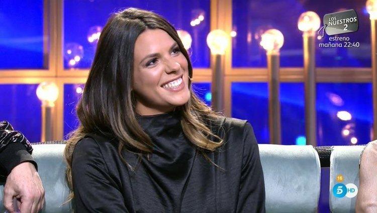 Laura Matamoros, muy sonriente en el plató de 'GH Dúo'/ Foto: telecinco.es
