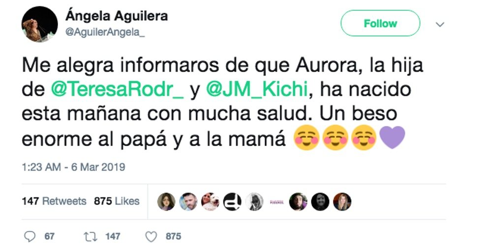 Tweet de Ángela Aguilera