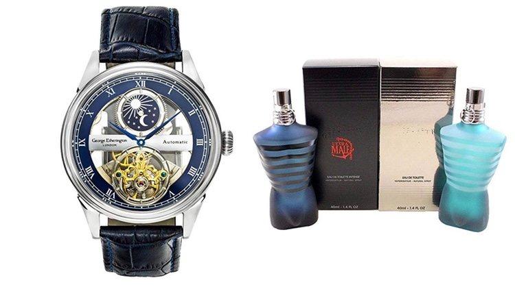 Reloj de pulsera y colonia