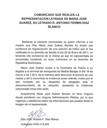 El comunicado que ha emitido María José Suárez