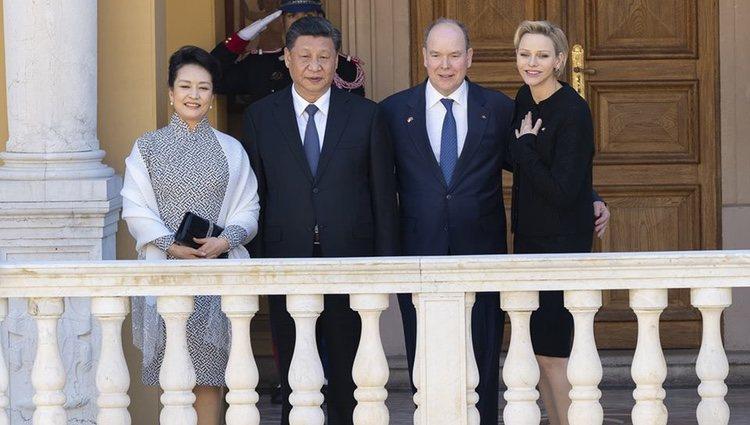 Peng Liyuan, Xi Jinping, Alberto de Mónaco y Charlene de Mónaco