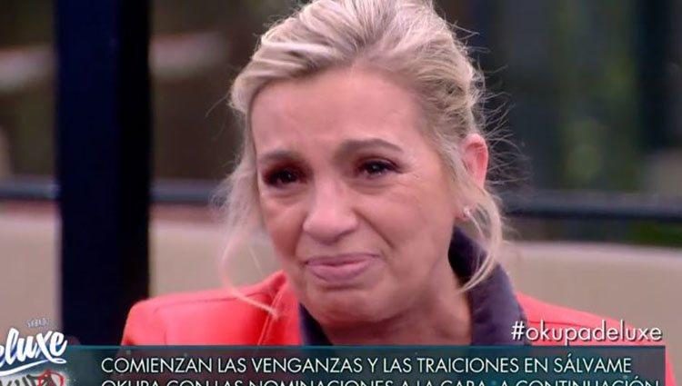 Carmen Borrego rota llorando/ Foto: Telecinco.es