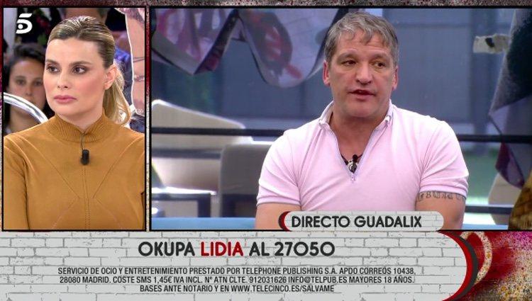 María Lapiedra y Gustavo González hablando antes de su reencuentro en plató / Telecinco.es