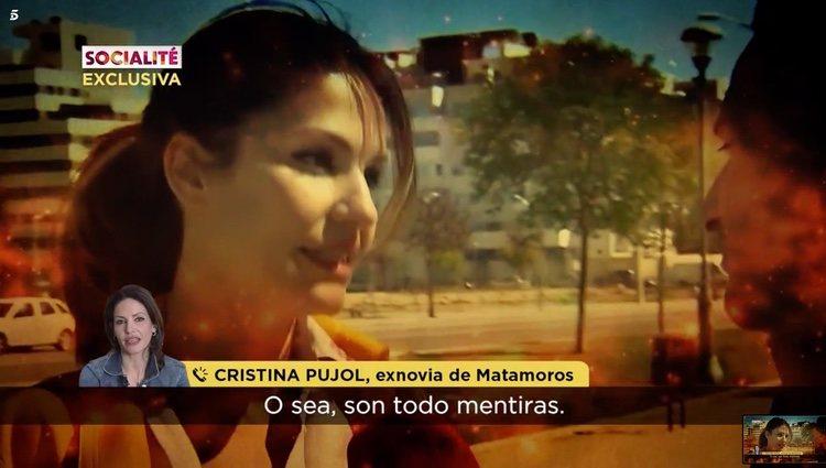 Cristina Pujol en llamada telefónica en exclusiva con 'Socialité' Foto: Telecinco
