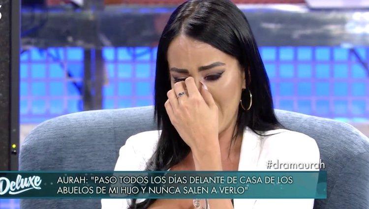 Aurah Ruiz, rota de dolor al hablar de su hijo   Foto: telecinco.es