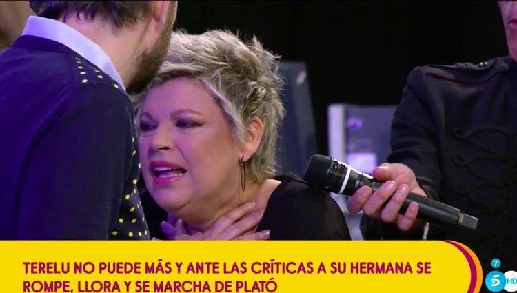 Terelu Campos el día de su abandono de 'Sálvame' / Telecinco.es