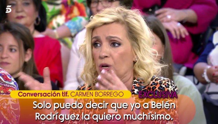 Carmen Borrego hablando por teléfono con 'Sálvame' / Telecinco.es