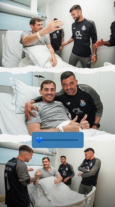 Iker Casillas recibiendo la visita de sus compañeros de equipo/ Foto: Instagram