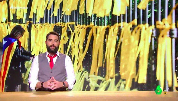 Dani Mateo hace una declaración en 'El Intermedio' sobre los lazos amarillos / foto: laSexta.com