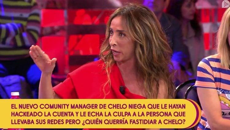 María Patiño en el plató de 'Sálvame' unos días después de su segunda rinoplastia Foto: Telecinco