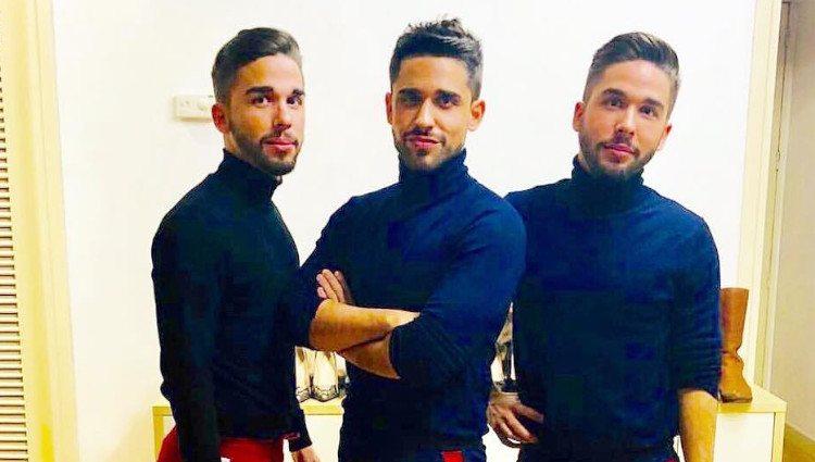 Miguel Frigenti junto a sus hermanos, Carlos y Alberto/Foto:Twitter