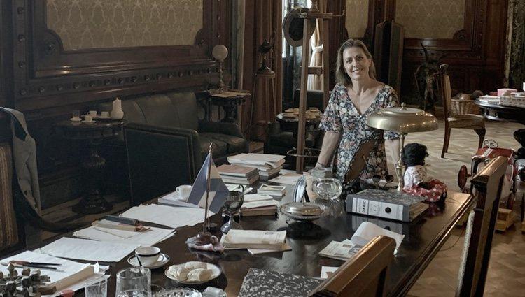 Ángeles Blanco en uno de los despachos que ocupó Evita