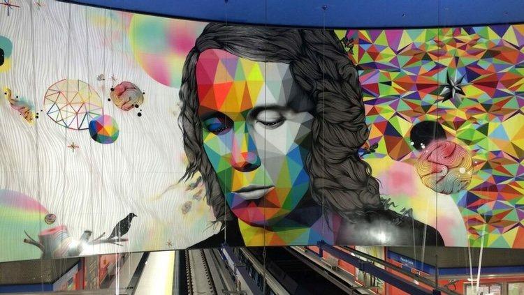 El mural de Okuda San Miguel de la estación de metro de Madrid Paco de Lucía/ Foto: Instagram