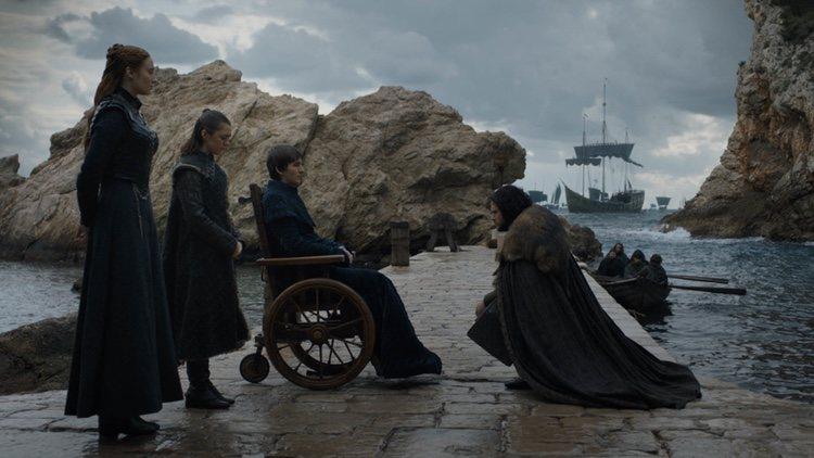 Jon Snow se despide a Bran, Sansa y Arya Stark antes de partir al Muro