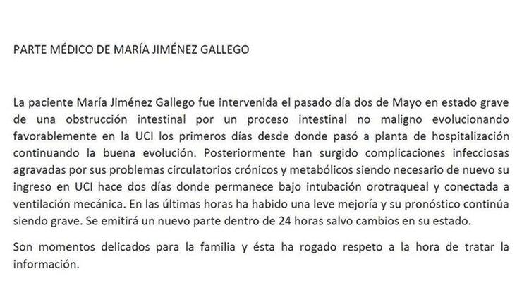 Parte médico del hospital San Rafael de Cádiz / Instagram @mariajimenezoficial