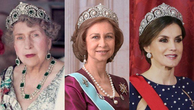 La Reina Victoria Eugenia, la Reina Sofía y la Reina Letizia luciendo la Tiara Cartier