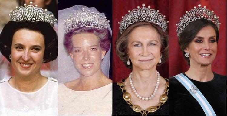 La Infanta Pilar, Simoneta Gómez-Acebo, la Reina Sofía y la Reina Letizia con la Tiara Rusa
