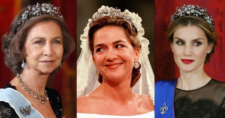 La Reina Sofía, la Infanta Cristina y la Reina Letizia con la Tiara Floral