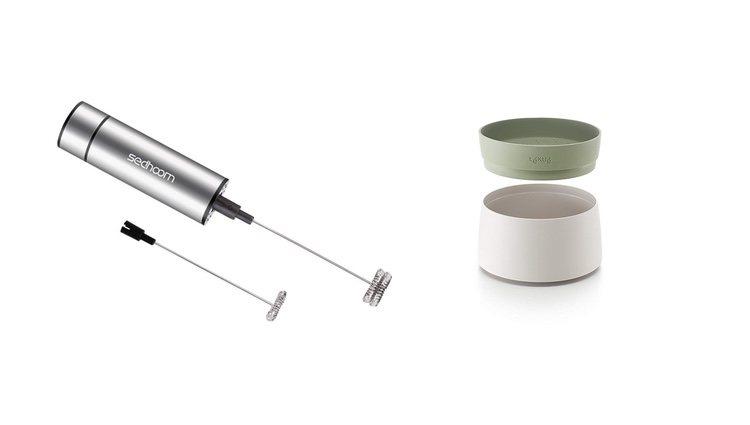 Espumador y recipiente microondas