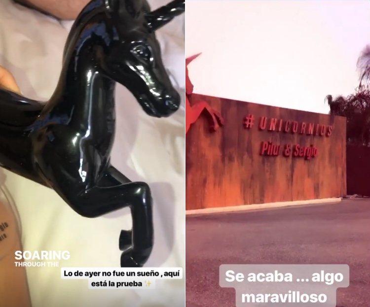 La entrada de la finca y el regalo del unicorcio / Instagram Carla Barber