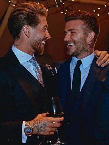 David Beckham con Sergio Ramos durante el convite / Instagram