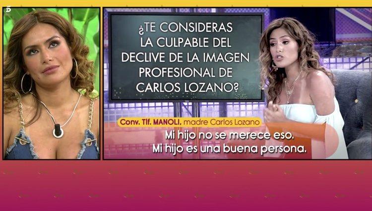 Miriam Saavedra escuchando las declaraciones que Manoli, madre de Carlos Lozano, hizo sobre ella en 'Salvame' Foto: Telecinco