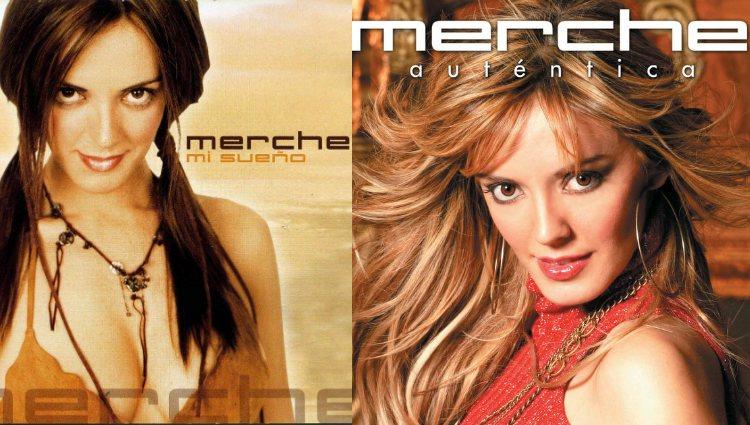 Merche en las portadas de sus dos primeros discos
