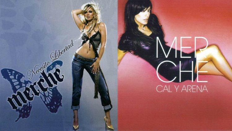 Merche en la portada de su tercer y de su cuarto álbum