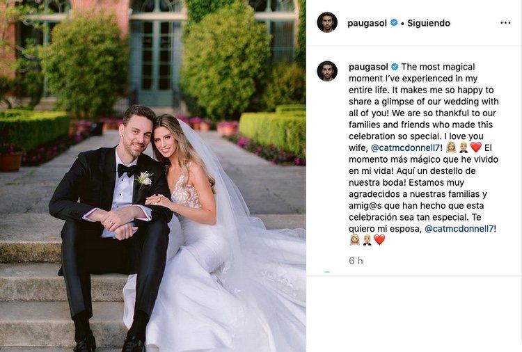 La foto con la que Pau Gasol ha confirmado su boda / Instagram