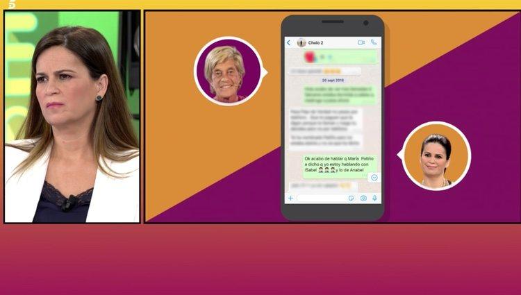 Algunos de los mensajes entre Chelo García Cortés y Pepi Valladares hablando sobre María Patiño Foto: Telecinco