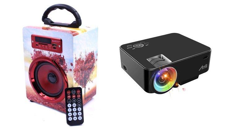 Altavoz portátil con Bluetooth y USB, y proyector portátil