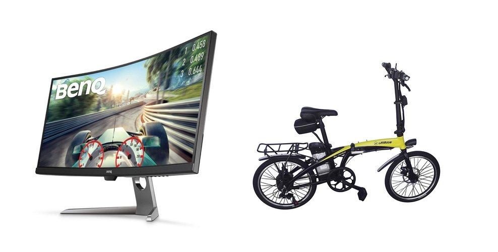 Pantalla panorámica BENQ y bicicleta eléctrica