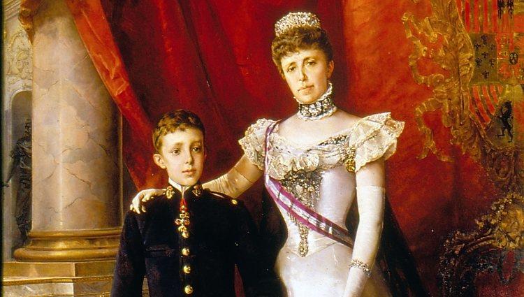 Retrato de la Reina María Cristina en el que aparece con el broche de oro y diamantes | Senado de Epaña