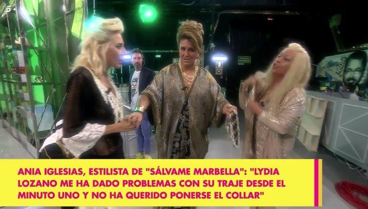 Lydia Lozano y Ania Iglesias discutiendo en el plató de 'Sálvame' Foto: Telecinco