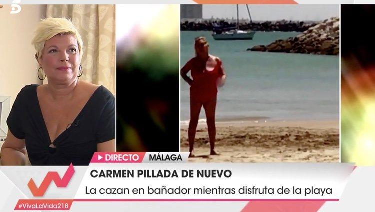 Terelu Campos viendo la pillada de Carmen Borrego | Foto: telecinco.es