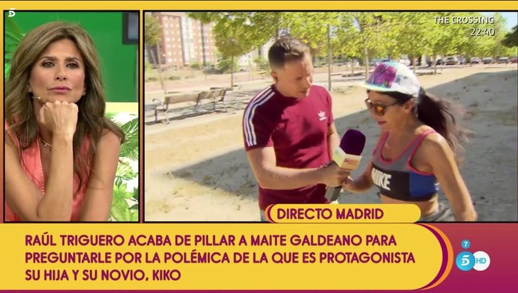 Maite Galdeano se niega a ponerse el pinganillo para comunicarse con 'Sálvame' en directo Foto: Telecinco