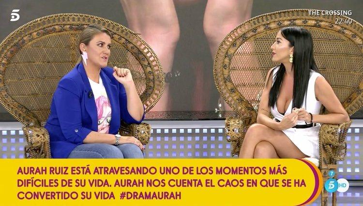 Aurah Ruiz, charlando con Carlota Corredera en 'Sálvame'/ Foto: telecinco.es