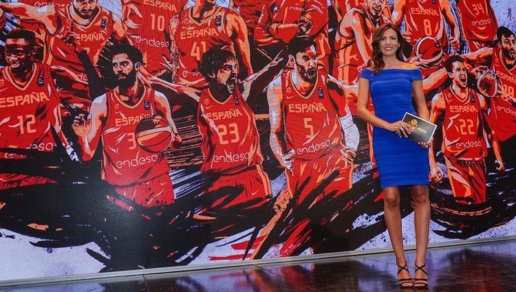 Mª Victoria Albertos con la Selección Española de Baloncesto de fondo