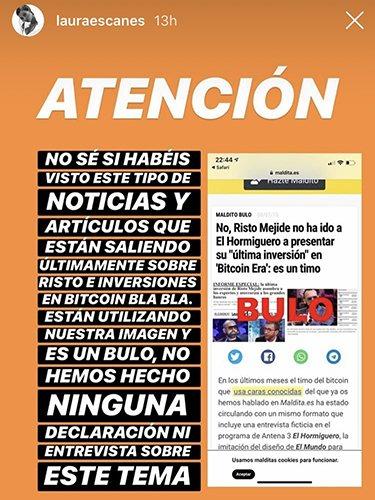 Laura Escanes denunciando el bulo   Instagram Laura Escanes