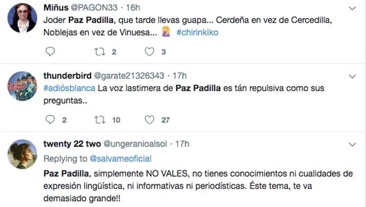 Los usuarios arremetiendo contra la presentadora por sus errores | Twitter