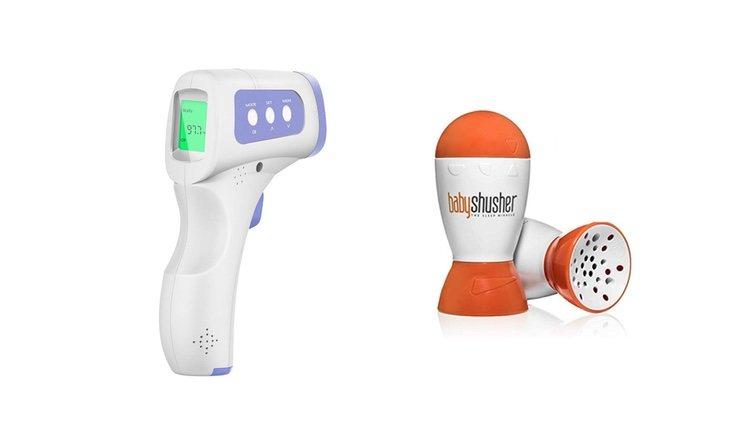 Termómetro infrarrojos y bebé pneo shusher